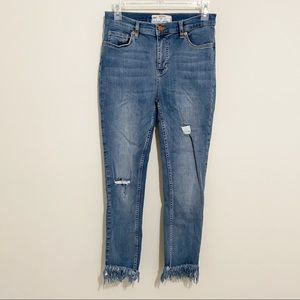 Free People High Rise Distressed Frayed Jeans 29